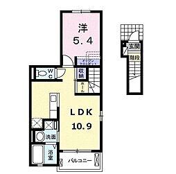 スックワームJ 2階1LDKの間取り