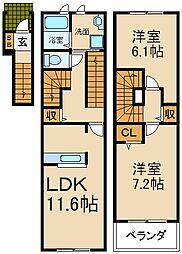 大阪府枚方市北中振2丁目の賃貸アパートの間取り