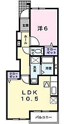 埼玉県川口市鳩ケ谷本町4丁目の賃貸アパートの間取り