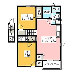 カーサ リーヴァ[2階]の間取り