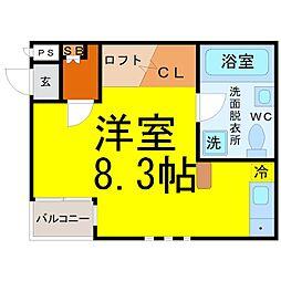 愛知県名古屋市西区那古野1丁目の賃貸アパートの間取り