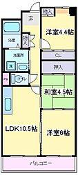 大阪府大阪市住吉区遠里小野3丁目の賃貸マンションの間取り