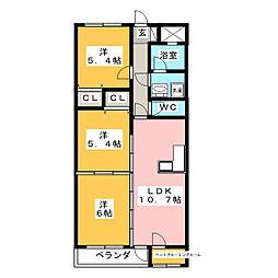 セシルII[3階]の間取り