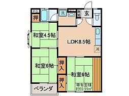 京都府宇治市五ケ庄一里塚の賃貸アパートの間取り