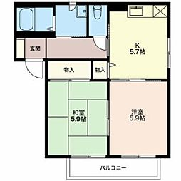 エバーグリーン B棟[1階]の間取り