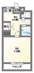 レジデンス勝栄 2号館[D-6号室]の間取り