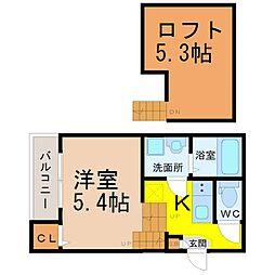 愛知県名古屋市昭和区鶴舞4丁目の賃貸アパートの間取り