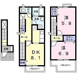 [テラスハウス] 愛知県名古屋市名東区猪子石原2丁目 の賃貸【/】の間取り