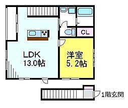 JR中央線 三鷹駅 徒歩9分の賃貸アパート 2階1LDKの間取り