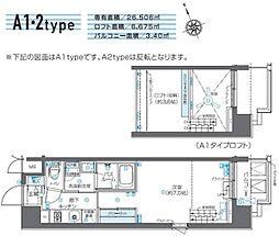 JR山手線 田町駅 徒歩10分の賃貸マンション 6階1Kの間取り