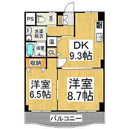 ユーイン井川城[2階]の間取り
