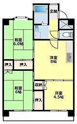 愛知県豊田市美里4丁目の賃貸マンションの間取り