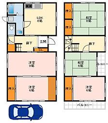 南海高野線 北野田駅 徒歩9分の賃貸一戸建て 1階5LDKの間取り