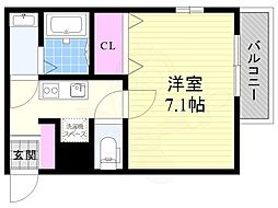 Osaka Metro今里筋線 だいどう豊里駅 徒歩2分の賃貸アパート 2階1Kの間取り