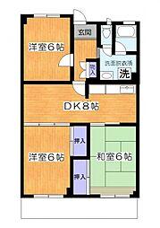神奈川県大和市中央5丁目の賃貸マンションの間取り