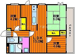 岡山県岡山市北区三野3丁目の賃貸マンションの間取り
