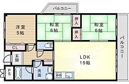 JR東海道・山陽本線 千里丘駅 徒歩16分の賃貸マンション 2階3LDKの間取り