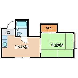 奈良県奈良市雑司町の賃貸アパートの間取り