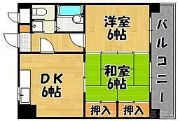 シティハイツ三郎丸[4階]の間取り