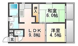 パラツィーナエスタ武庫元町[4階]の間取り