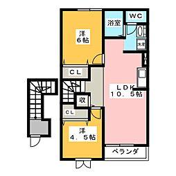 カーサメロディーA[2階]の間取り