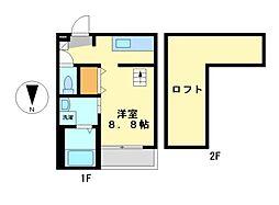 愛知県名古屋市中村区森末町3丁目の賃貸アパートの間取り