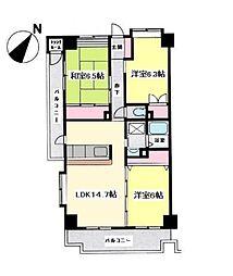 サニーヒル石川3[2階]の間取り