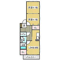 愛知県名古屋市中川区法華1丁目の賃貸アパートの間取り