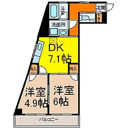 ハニーハイツ渡辺II[9階]の間取り