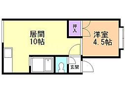 アパートメント・ワキザカ 2階1LDKの間取り