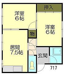 白菊マンション[4階]の間取り