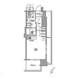 東京メトロ南北線 白金高輪駅 徒歩1分の賃貸マンション 2階ワンルームの間取り