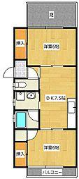 サウスマツバラフラット[1階]の間取り