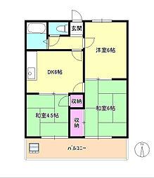 東京都八王子市散田町3丁目の賃貸アパートの間取り