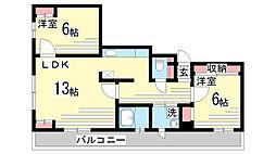兵庫県神戸市兵庫区塚本通4丁目の賃貸マンションの間取り