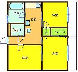 福岡県北九州市小倉北区三萩野2の賃貸マンションの間取り