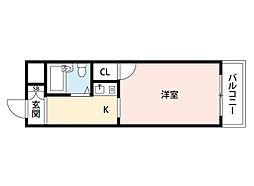 阪急千里線 南千里駅 徒歩9分の賃貸マンション 3階1Kの間取り