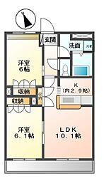 愛知県名古屋市緑区桶狭間巻山の賃貸アパートの間取り