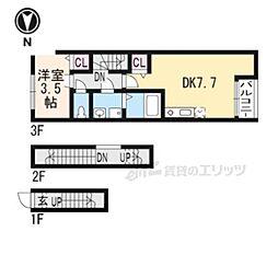 京阪本線 龍谷大前深草駅 徒歩7分の賃貸アパート 3階1LDKの間取り