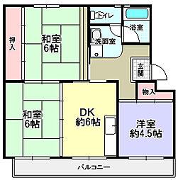 UR男山団地[4階]の間取り