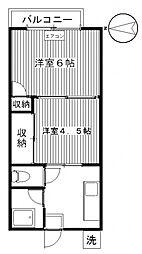 パナハイツ高崎[201号室号室]の間取り