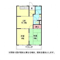 愛知県一宮市三条字芦山の賃貸マンションの間取り