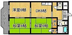 奈良県奈良市大安寺3丁目の賃貸マンションの間取り