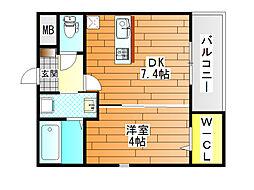 大阪府羽曳野市軽里3丁目の賃貸アパートの間取り