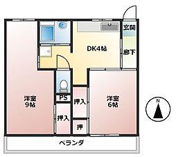 ビレッジハウス新開1号棟[2階]の間取り
