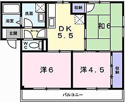 兵庫県姫路市飾磨区西浜町2丁目の賃貸アパートの間取り