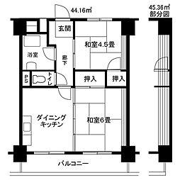 中原第2[4階]の間取り