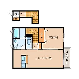 JR和歌山線 大和二見駅 徒歩1分の賃貸アパート 2階1LDKの間取り