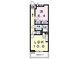 メゾン川勝III 3階1LDKの間取り