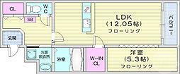 仙台市営南北線 五橋駅 徒歩15分の賃貸マンション 1階1LDKの間取り